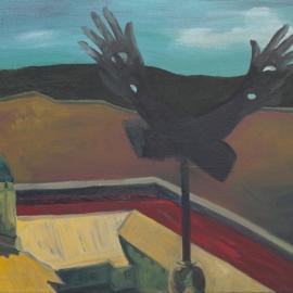 Elkerített táj (80x120cm, olaj, vászon, 2012)