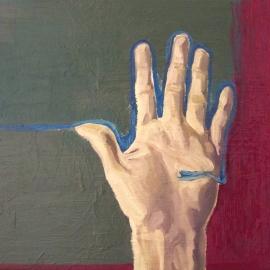 Vizfolyás IV. (40,5 x 50 cm, olaj, vászon, 2012)